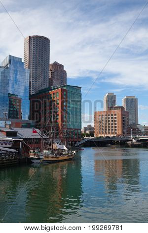 Boston Massachusetts USA - July 2 2016: Boston Tea Party Museum which is a floating history museum with live reenactments multimedia exhibits and tearoom.