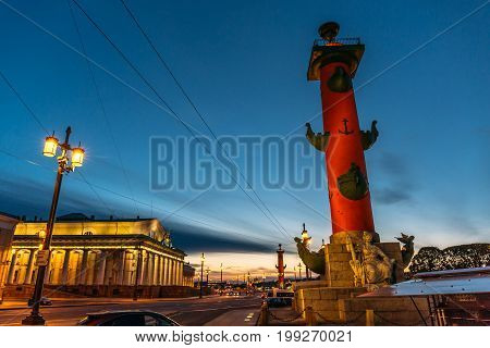 Rostral columns - architectural structures in the center of St. Petersburg, on the Spit of Vasilievsky Island