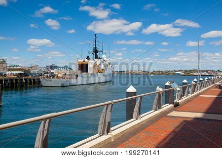 Boston Massachusetts USA - July 7 2016 : United States Coast Guard ships docked in Boston Harbor