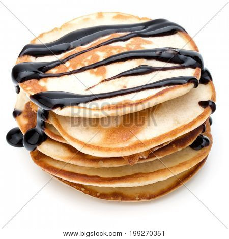 Pancakes  stack with chocolate syrup on white background