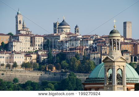 BERGAMO, ITALY. 2nd August 2017. View of the old town with its many towers. Bergamo is increasingly popular with tourists due to the nearly low-cost Caravaggio airport.