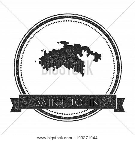 Saint John Map Stamp. Retro Distressed Insignia. Hipster Round Badge With Text Banner. Island Vector