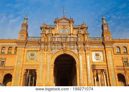 Seville Spain - November 18 2016: View of Plaza de Espana complex built in 1929 is a huge half circle with a total area of 50000 square meters