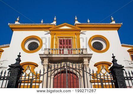 Seville Spain - November 19 2016: Bullfight arena plaza de toros at Sevilla.Seville Real Maestranza bullring plaza toros de Sevilla in Andalusia Spain