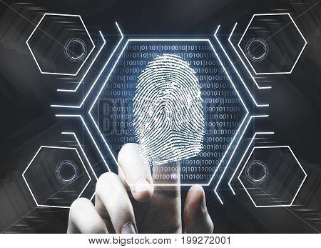 Futuristic fingerprint scanning device biometric security system. Future concept. 3D Rendering