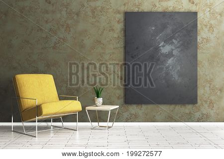 Living Room With Empty Chalkboard