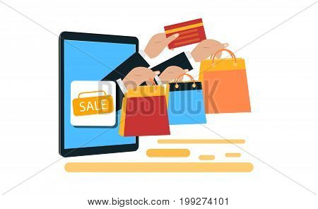 Super sale banner design for promotion with shopping icons. Mobile and online shop concept. Digital Marketing store Ecommerce shopping. Flat illustration.