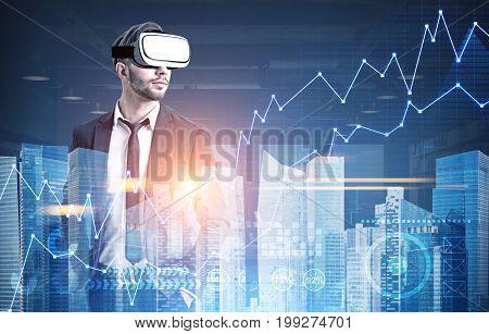 Businessman In Vr Glasses, Hud, Graphs, City