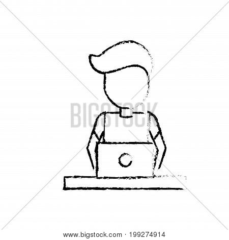 figure profesional businessman with laptop and corporate job vector illustration