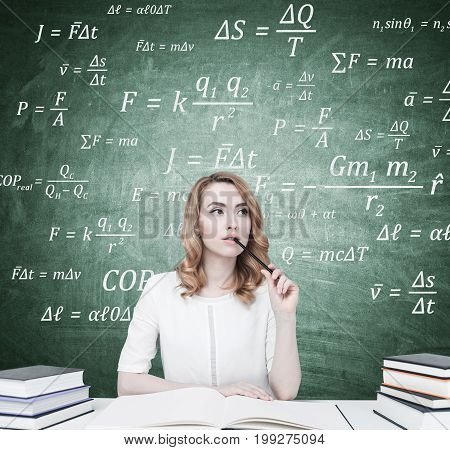 Red Haired Businesswoman With A Copybook, Formulas