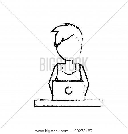figure profesional businesswoman with laptop and corporate job vector illustration