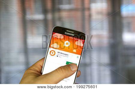MONTREAL CANADA - JULY 14 2017 : Odnoklassniki OK Messages app on Samsung S7. Odnoklassniki OK.ru is a social network service for classmates and old friends.