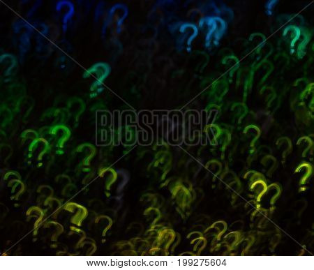 Beautiful Background With Different Colored Question Mark, Abstract Background, Question Mark Shapes