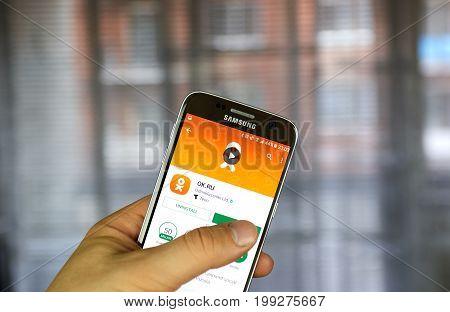 MONTREAL CANADA - JULY 14 2017 : Odnoklassniki app on Samsung S7. Odnoklassniki OK.ru is a social network service for classmates and old friends.