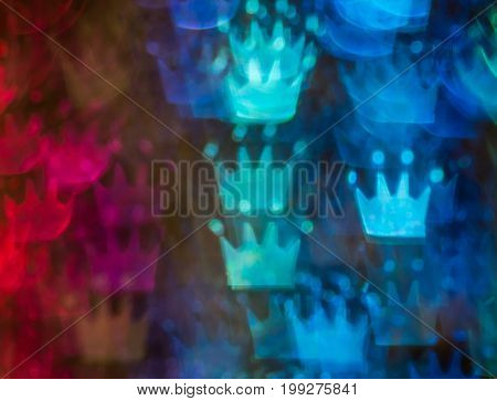 Beautiful Background With Different Colored Crown, Abstract Background, Crown Shapes On Black Backgr