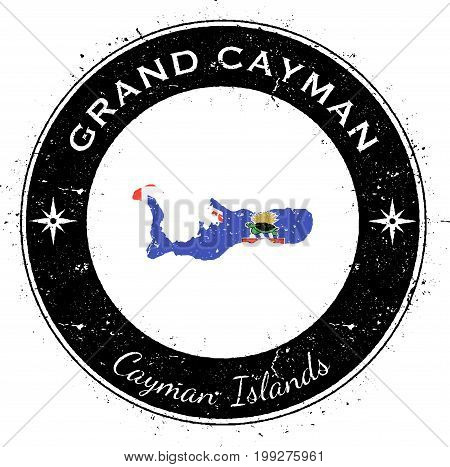 Grand Cayman Circular Patriotic Badge. Grunge Rubber Stamp With Island Flag, Map And Name Written Al