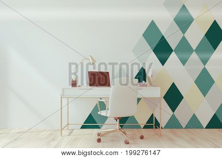 White And Green Diamond Pattern Home Office Toned