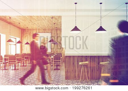 Cafe interior with a wooden wall and ceiling a vertical framed poster on a wall wooden tables with gray chairs. A white and wooden bar stand. People. 3d rendering mock up toned image double exposure
