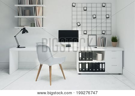 White Home Office, White Chair