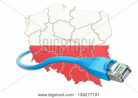 Internet connection in Poland concept. 3D rendering isolated on white background