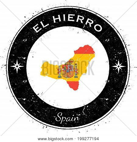El Hierro Circular Patriotic Badge. Grunge Rubber Stamp With Island Flag, Map And Name Written Along