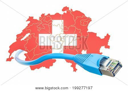 Internet connection in Switzerland concept. 3D rendering isolated on white background
