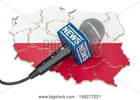 Polish News concept microphone news on the map of Poland. 3D rendering