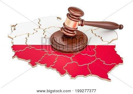Wooden Gavel on map of Poland 3D rendering isolated on white background