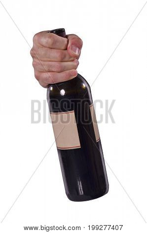 Front view from a male hand holding a red wine bottle on white background.