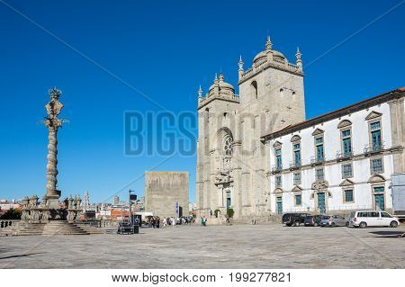 PORTO PORTUGAL - OCTOBER 20 2015: The Porto Cathedral is a Roman Catholic church located in the historical centre of the city of Porto Portugal. It is one of the city's oldest monuments
