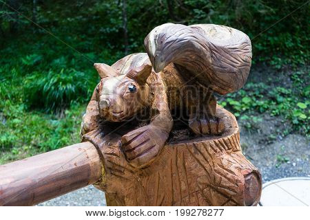 wooden beaver sculpture in forest nicely crafted