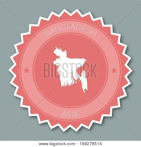 Bangladesh Badge Flat Design. Round Flat Style Sticker Of Trendy Colors With Country Map And Name. C