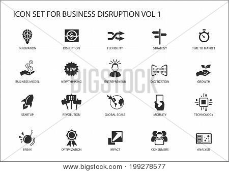 Digital business disruption icon set with various symbols