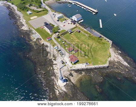 Portsmouth Harbor Lighthouse and Fort Constitution State Historic Site aerial view  in summer, New Castle, New Hampshire, USA.