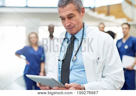 Adult Doctor With Tablet Standing In Hospital