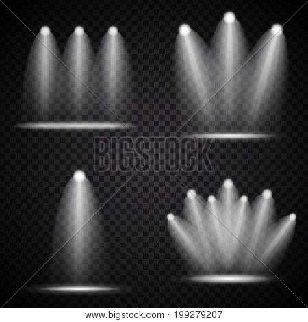 Set of Realistic Bright Projectors Lighting Lamp Collection with Spotlights Lighting Effects with Transparency Isolated on Transparent Background. Vector Illustration EPS10