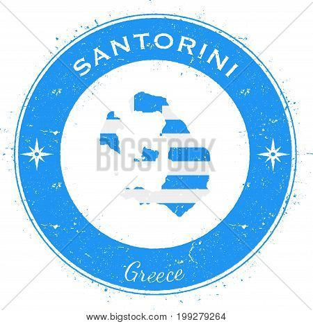 Santorini Circular Patriotic Badge. Grunge Rubber Stamp With Island Flag, Map And Name Written Along