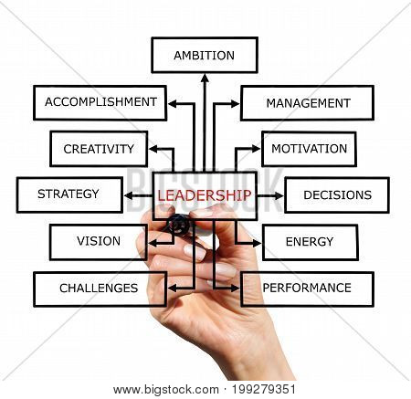A block diagram of a leadership drawn with marker on white background