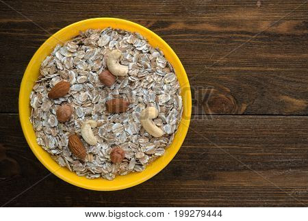 Oatmeal With Nuts. Oatmeal Top View. Healthy Food .