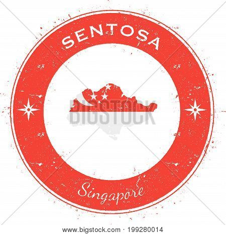 Sentosa Circular Patriotic Badge. Grunge Rubber Stamp With Island Flag, Map And Name Written Along C
