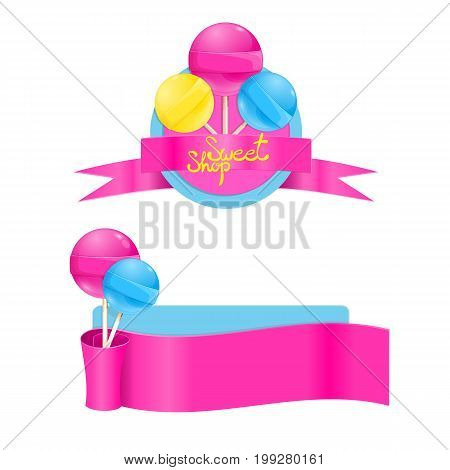 Vector template set with sweet lollipops. Sweet shop lollipop label. Lollipops with pink ribbon. Vector illustration isolated on white background