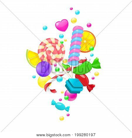 Candy background set isolated on white background. Sweet set with lollipop, caramel, marmalade and candy vector illustration