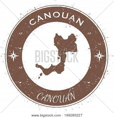 Canouan Circular Patriotic Badge. Grunge Rubber Stamp With Island Flag, Map And Name Written Along C