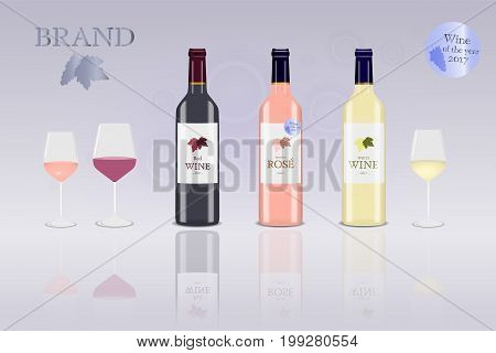 Brand. Bottle of red, white and rose (blush) wine with glasses. Logo. Price : Best quality.