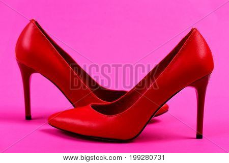 Womens Accessories On Pink Background: High Heel Formal Shoes