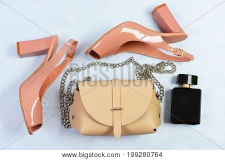 Womens Shoes And Accessories, Top View. Pair Of Pink Shoes
