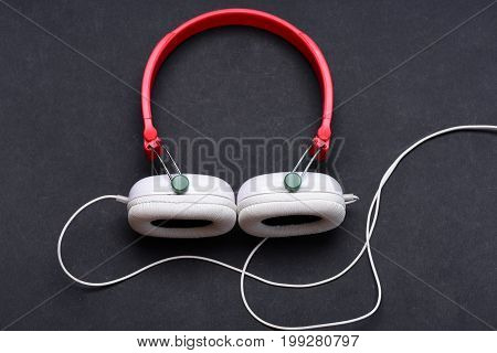 Music Accessories And Technology Concept. Modern And Stylish Earphones