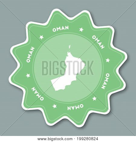 Oman Map Sticker In Trendy Colors. Star Shaped Travel Sticker With Country Name And Map. Can Be Used