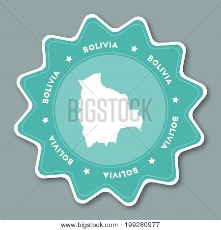 Bolivia Map Sticker In Trendy Colors. Star Shaped Travel Sticker With Country Name And Map. Can Be U