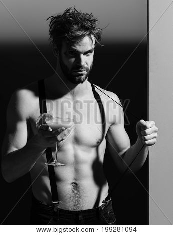 Handsome Muscular Man With Cocktail